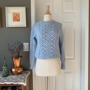 J. Crew popcorn cableknit ice blue sweater